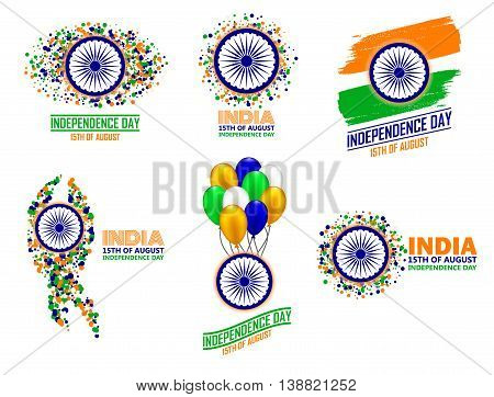 India Independence Day set of six greeting card elements in traditional colors - saffron green navy blue.