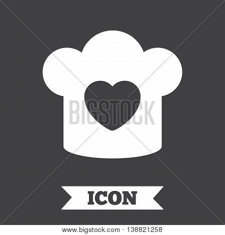 Chef hat sign icon. Cooking symbol. Cooks hat with heart love. Graphic design element. Flat cooking symbol on dark background. Vector