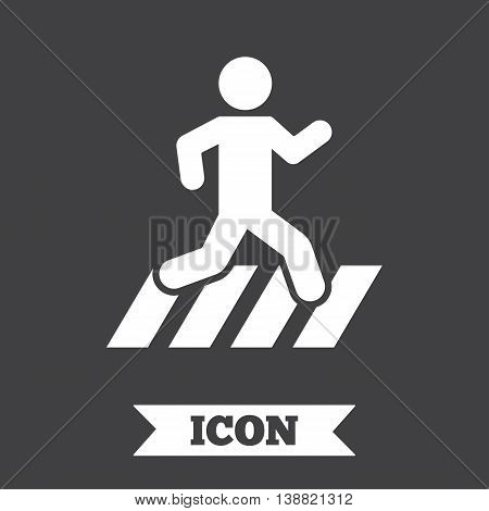 Crosswalk icon. Crossing street sign. Graphic design element. Flat crosswalk symbol on dark background. Vector