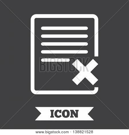 Delete file sign icon. Remove document symbol. Graphic design element. Flat delete symbol on dark background. Vector