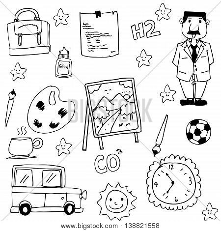 Collection stock school doodles vector art illustration