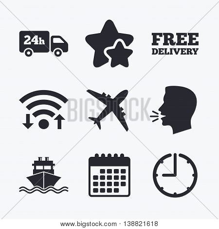 Cargo truck and shipping icons. Shipping and free delivery signs. Transport symbols. 24h service. Wifi internet, favorite stars, calendar and clock. Talking head. Vector