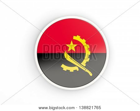 Flag Of Angola. Round Icon With Frame