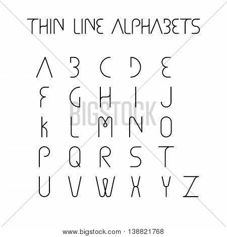 Thin Line And Narrow English Alphabets Or Letters - Vector Icons