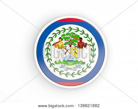 Flag Of Belize. Round Icon With Frame