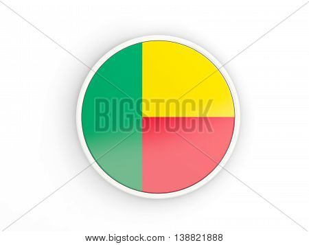Flag Of Benin. Round Icon With Frame