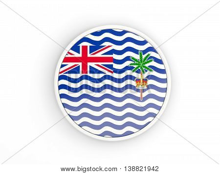 Flag Of British Indian Ocean Territory. Round Icon With Frame