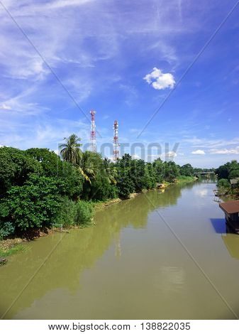 canal  view of Thailand  with the trees