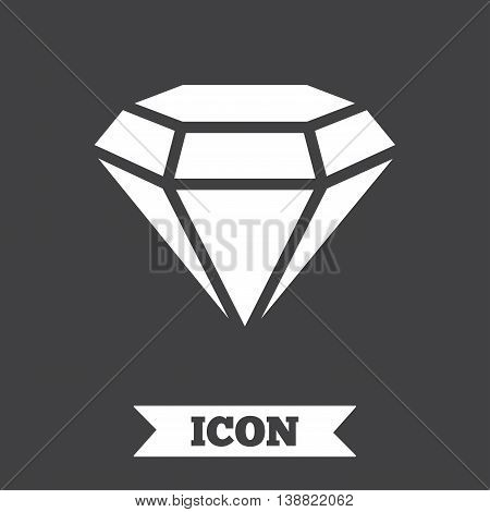 Diamond sign icon. Jewelry symbol. Gem stone. Graphic design element. Flat diamond symbol on dark background. Vector
