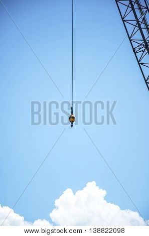 Mobile crane with background blue sky, Thailand