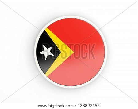 Flag Of East Timor. Round Icon With Frame