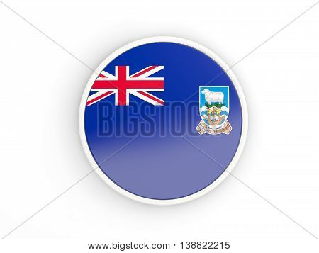 Flag Of Falkland Islands. Round Icon With Frame