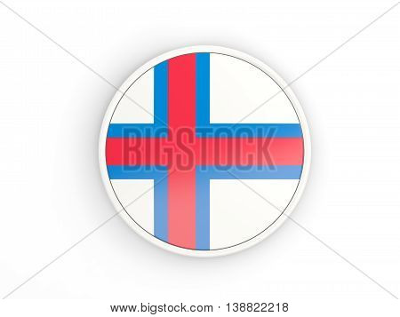 Flag Of Faroe Islands. Round Icon With Frame