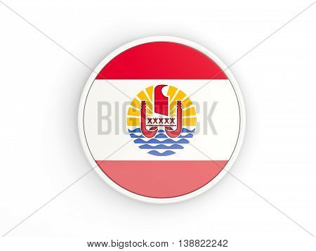 Flag Of French Polynesia. Round Icon With Frame