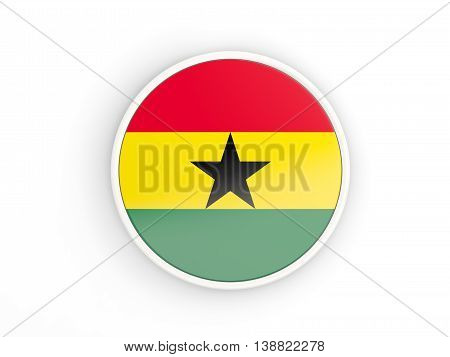 Flag Of Ghana. Round Icon With Frame