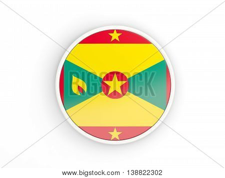 Flag Of Grenada. Round Icon With Frame