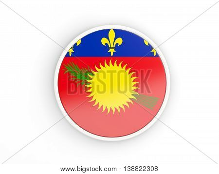 Flag Of Guadeloupe. Round Icon With Frame