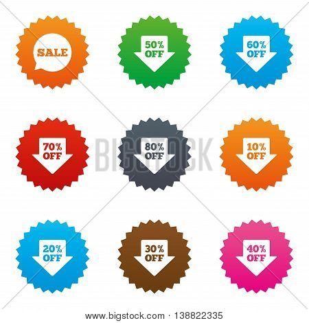 Sale discounts icons. Special offer signs. Shopping price tag symbols. Stars label button with flat icons. Vector