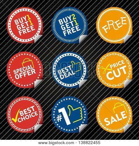 Red, Blue, Yellow Sale Stickers with tab different border style