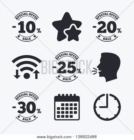 Sale discount icons. Special offer stamp price signs. 10, 20, 25 and 30 percent off reduction symbols. Wifi internet, favorite stars, calendar and clock. Talking head. Vector