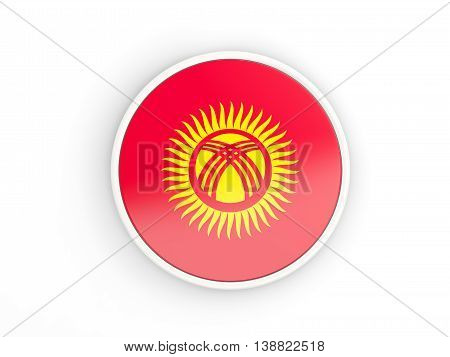 Flag Of Kyrgyzstan. Round Icon With Frame