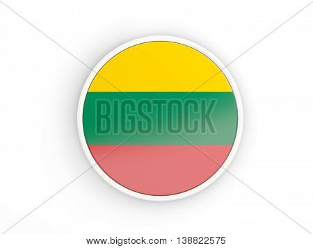 Flag Of Lithuania. Round Icon With Frame