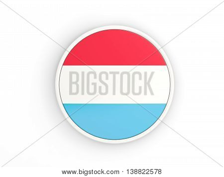 Flag Of Luxembourg. Round Icon With Frame