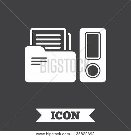 Document folder sign. Accounting binder symbol. Bookkeeping management. Graphic design element. Flat folder symbol on dark background. Vector