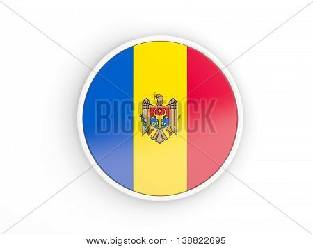 Flag Of Moldova. Round Icon With Frame
