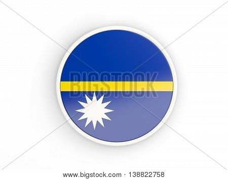 Flag Of Nauru. Round Icon With Frame