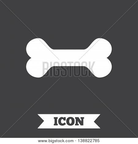 Dog bone sign icon. Pets food symbol. Graphic design element. Flat dog bone symbol on dark background. Vector