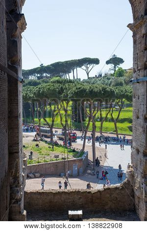 ROME, ITALY - APRIL 8, 2016: Palantine Hill. The ruins of the Domus Augustana on Palatine Hill.
