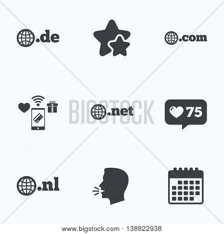 Top-level internet domain icons. De, Com, Net and Nl symbols with globe. Unique national DNS names. Flat talking head, calendar icons. Stars, like counter icons. Vector