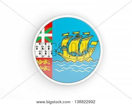 Flag Of Saint Pierre And Miquelon. Round Icon With Frame