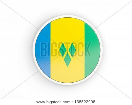 Flag Of Saint Vincent And The Grenadines. Round Icon With Frame