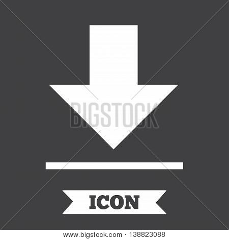 Download icon. Upload button. Load symbol. Graphic design element. Flat download symbol on dark background. Vector