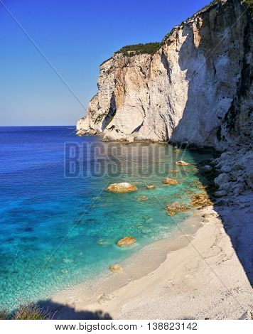Sea azure beautiful bay and white cliff in Greece