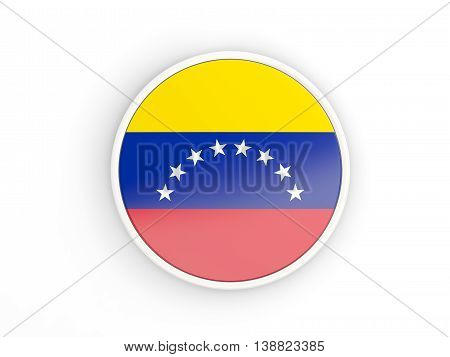 Flag Of Venezuela. Round Icon With Frame
