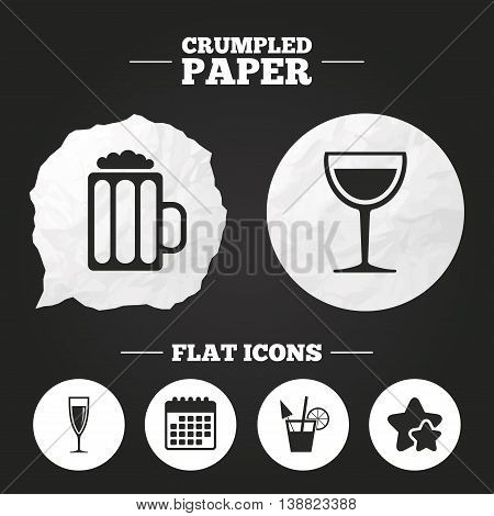 Crumpled paper speech bubble. Alcoholic drinks icons. Champagne sparkling wine and beer symbols. Wine glass and cocktail signs. Paper button. Vector