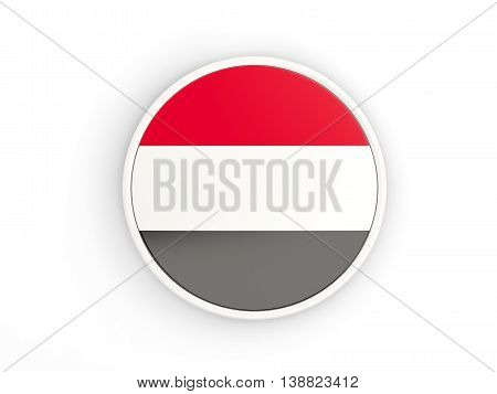 Flag Of Yemen. Round Icon With Frame