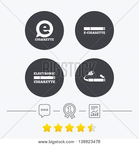 E-Cigarette with plug icons. Electronic smoking symbols. Speech bubble sign. Chat, award medal and report linear icons. Star vote ranking. Vector