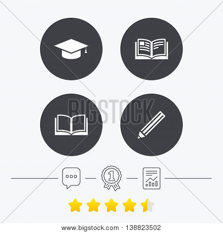 Pencil and open book icons. Graduation cap symbol. Higher education learn signs. Chat, award medal and report linear icons. Star vote ranking. Vector