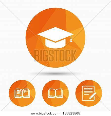 Pencil with document and open book icons. Graduation cap symbol. Higher education learn signs. Triangular low poly buttons with shadow. Vector