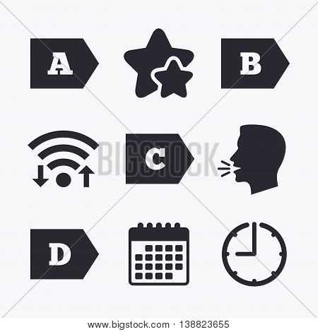 Energy efficiency class icons. Energy consumption sign symbols. Class A, B, C and D. Wifi internet, favorite stars, calendar and clock. Talking head. Vector