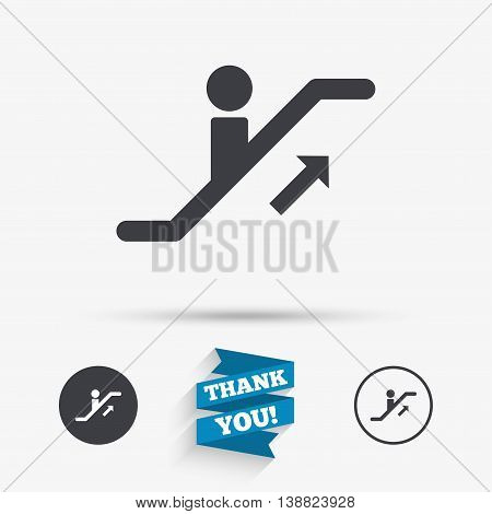 Escalator staircase icon. Elevator moving stairs up symbol. Flat icons. Buttons with icons. Thank you ribbon. Vector