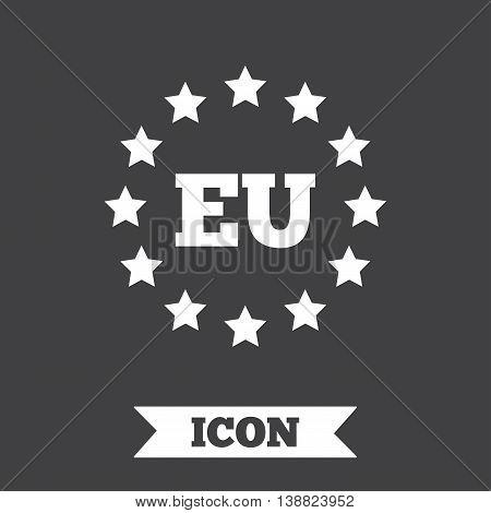 European union icon. EU stars symbol. Graphic design element. Flat eu symbol on dark background. Vector