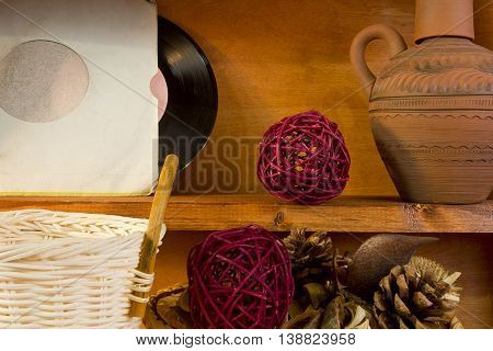 Set for interior decoration on the wooden background