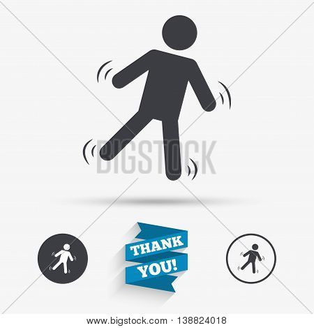 Man falls sign icon. Falling down human symbol. Caution slippery. Flat icons. Buttons with icons. Thank you ribbon. Vector