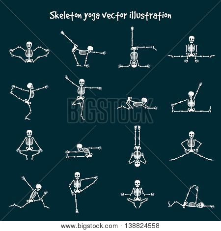 Skeleton yoga vector illustration. Comic healthy fitness skeleton