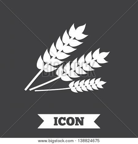 Agricultural sign icon. Gluten free or No gluten symbol. Graphic design element. Flat wheat symbol on dark background. Vector